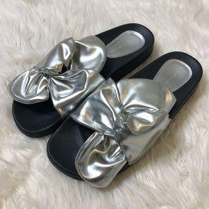 Zara Basic collection silver bow slides